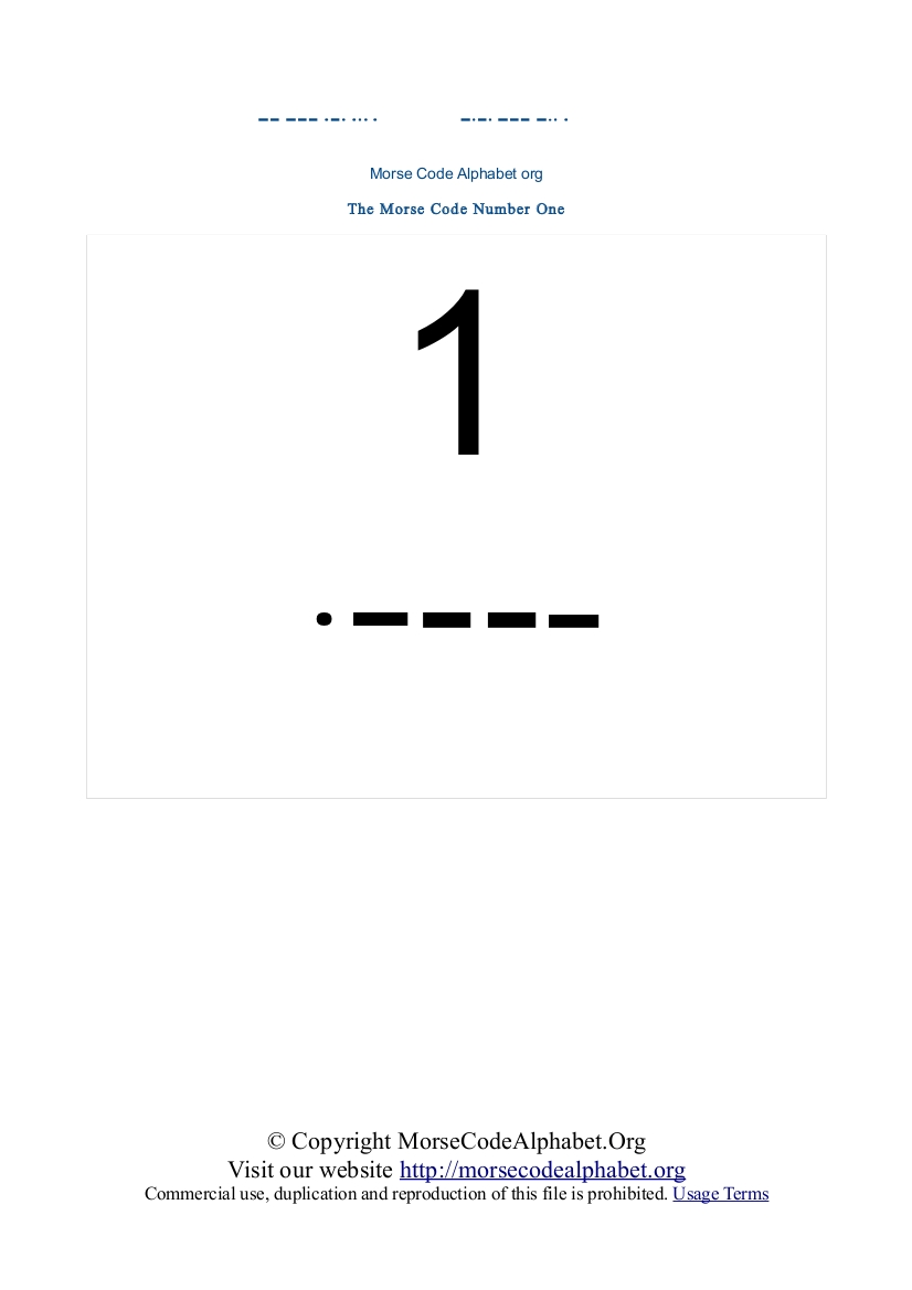 Morse Code Numbers 1 to 10 PDF Printable | Morse Code Alphabet Org