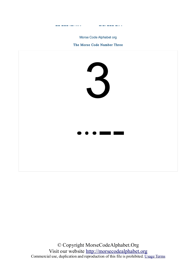 Morse Code Number PDF Three