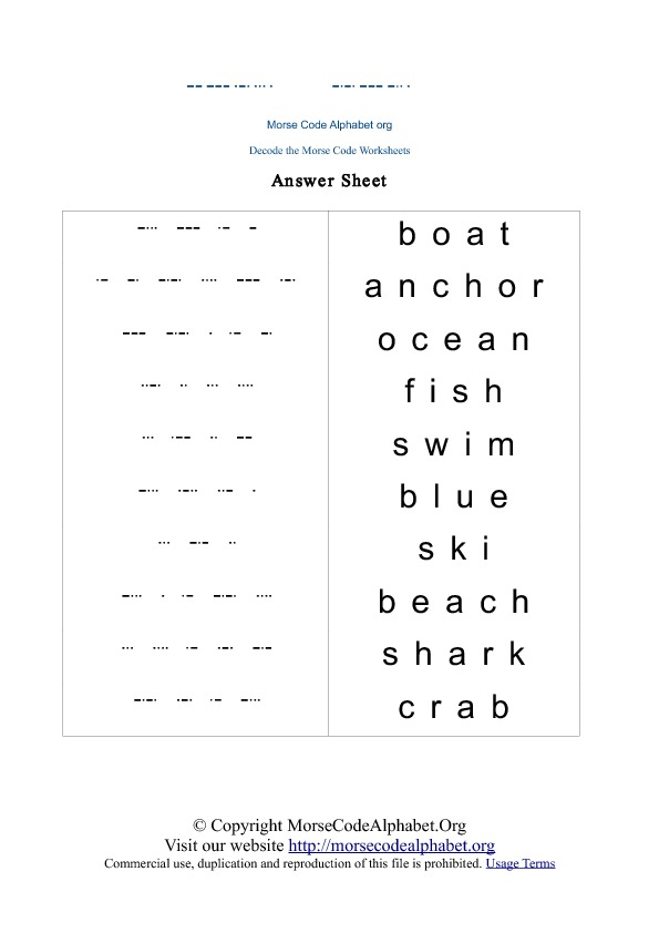 image relating to Printable Morse Code Chart called Morse Code Decode Quiz Worksheets Morse Code Alphabet Org